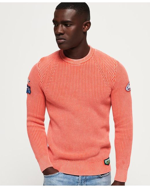 Superdry - Orange Garment Dye Wash Texture Crew Jumper for Men - Lyst