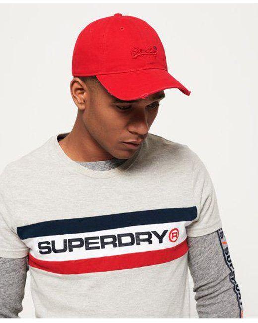 Superdry - Red Vintage Logo Orange Label Wash Cap for Men - Lyst