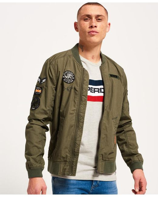 Superdry Rookie Aviator Patched Bomber Jacket In