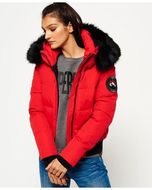 Superdry Everest Ella Bomber Jacket In Red Lyst
