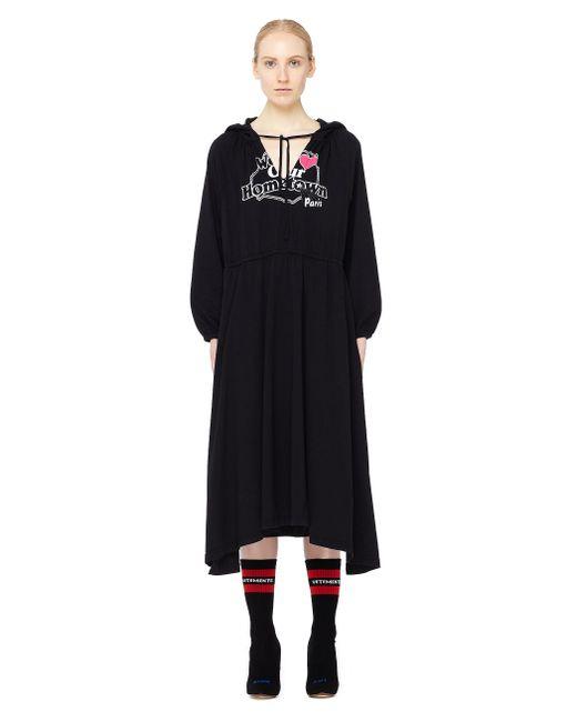 Vetements - Black Cotton Dress With A Paris Print - Lyst
