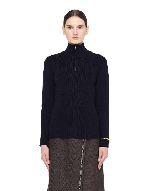 Balenciaga - Blue Lingerie-style Wool Turtleneck Jumper - Lyst
