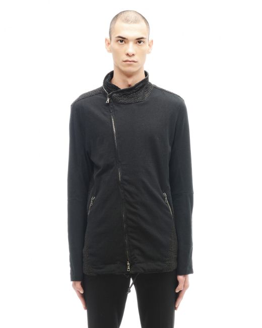 Transit Uomo | Black Cotton And Leather Sweatshirt for Men | Lyst
