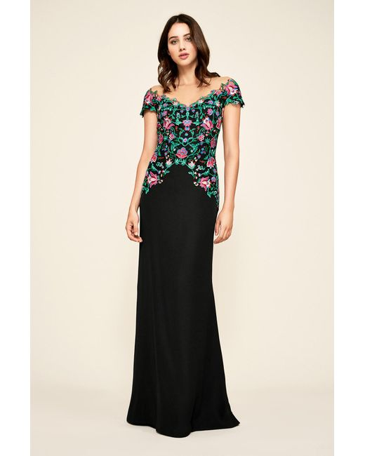 Lyst - Tadashi Shoji Holly Floral Embroidered Gown