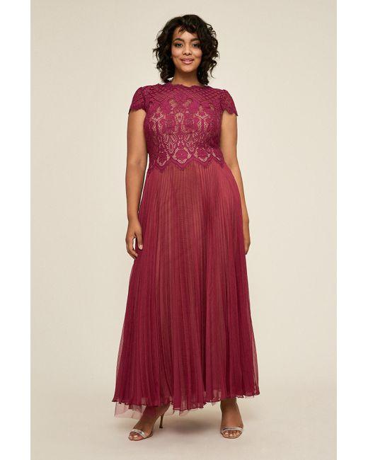 bcb653c544c0 Tadashi Shoji - Red Drusa Chiffon Lace Tea-length Dress - Plus Size - Lyst  ...
