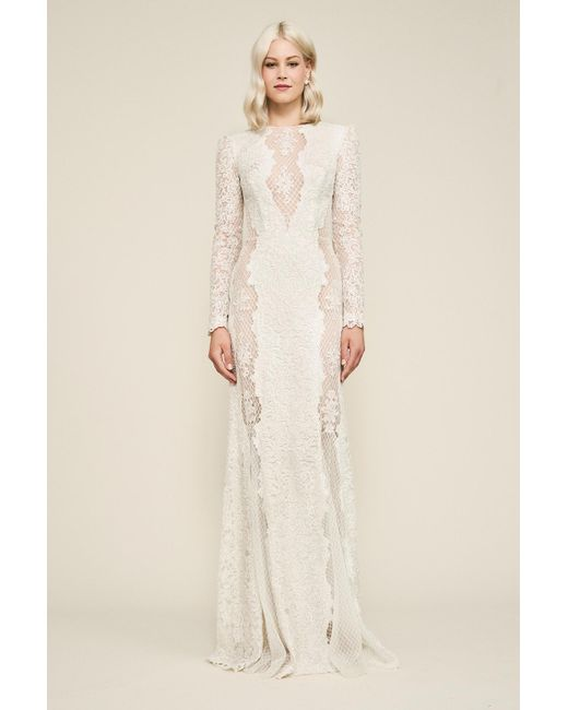 d4be7eed56933 Tadashi Shoji - Natural Hotah Long-sleeve Embroidered Gown - Lyst ...