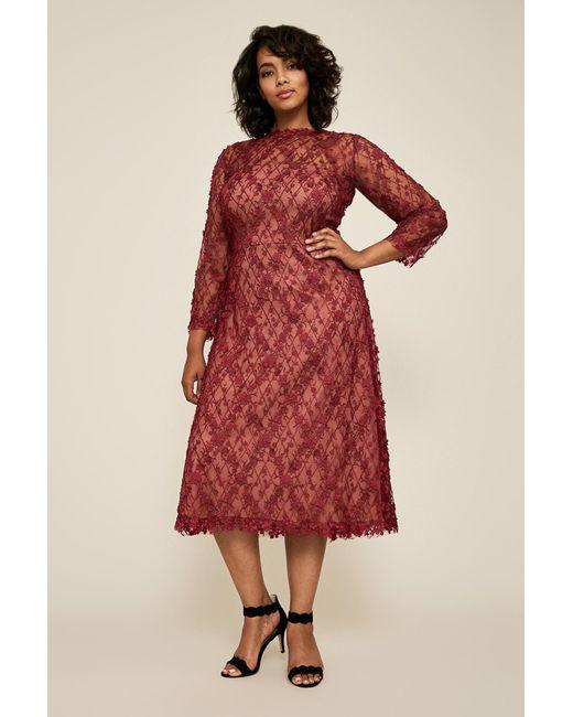 87b0deafffba Tadashi Shoji - Red Binx Embroidery Tea-length Dress - Plus Size - Lyst ...