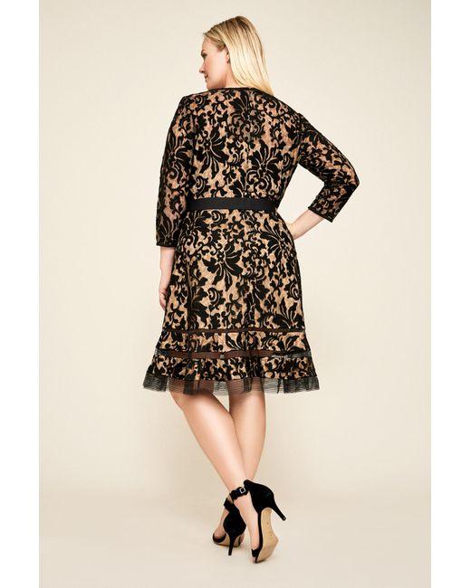 73b1e2281bd7 ... Tadashi Shoji - Black Kennedy Embroidered Lace Dress - Plus Size - Lyst  ...