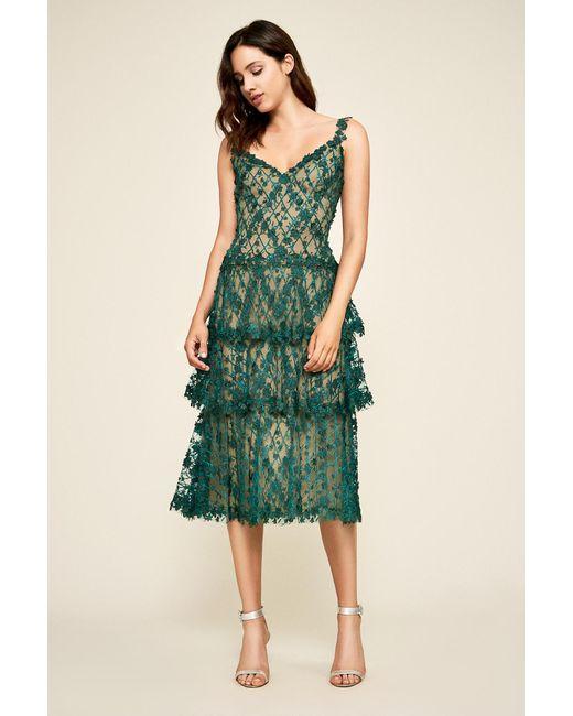 5304dbbbac49 Tadashi Shoji - Green Ambroz Floral Embroidery Tea-length Dress - Lyst ...