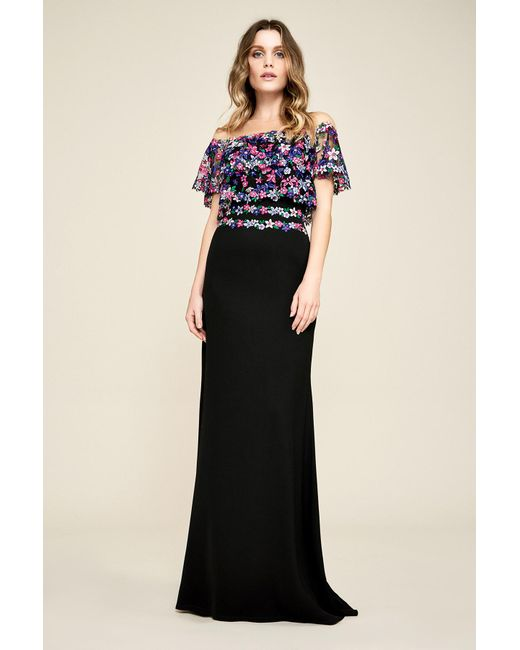 Tadashi Shoji - Black Lucy Floral Embroidered Crepe Gown - Lyst