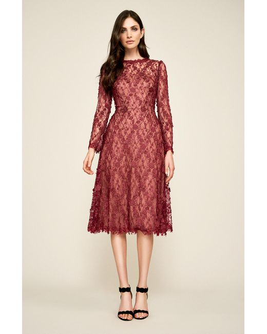 f46feec5257c Tadashi Shoji Binx Embroidery Tea-length Dress in Red - Save 40% - Lyst
