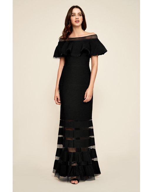 Lyst - Tadashi Shoji Petites Off-the-shoulder Pintuck Gown in Black ...