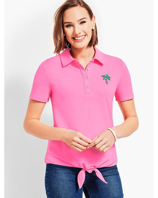 Talbots - Pink Tie Front Polo Shirt - Lyst