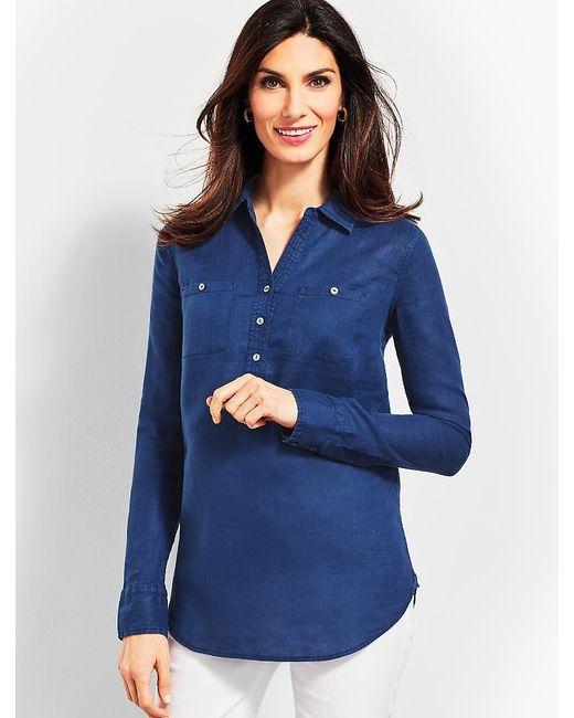 Talbots - Blue Linen Camp Shirt - Piece-dyed - Lyst
