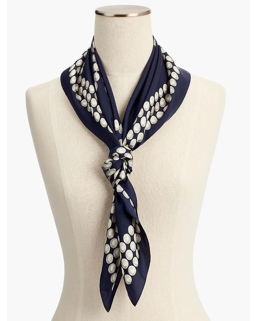 Talbots - Blue Silk Strands-of-pearl Square Scarf - Lyst
