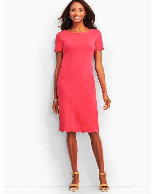 Talbots   Pink Scalloped Cotton Shift Dress   Lyst