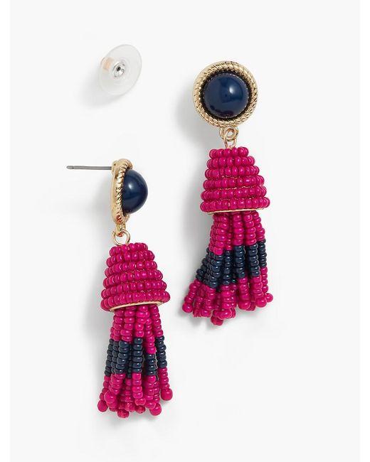 Talbots   Pink Cabochon & Seed-bead Tassel Earrings   Lyst