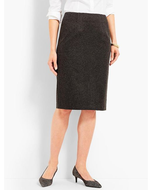 talbots luxe herringbone knit pencil skirt in black lyst