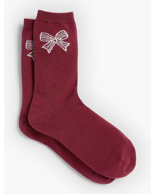 Talbots | Red Lurex(r) Bow Trouser Sock | Lyst