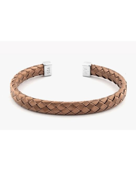 Tateossian | Brown Bamboo Silver Bangle for Men | Lyst
