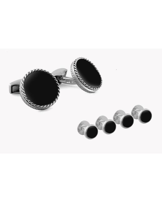 Tateossian - Metallic Cable Disc Silver Shirt Stud Set In Onyx for Men - Lyst