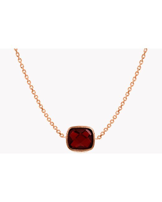 Tateossian - Red 14k Rose Gold Belgravia Heart Necklace With Garnet for Men - Lyst