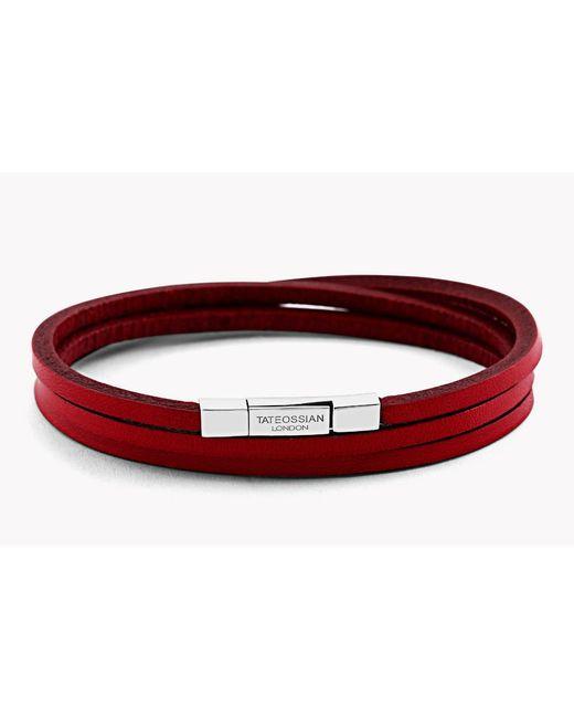 Tateossian | Red Triple Wrap Fettuccine Bracelet for Men | Lyst