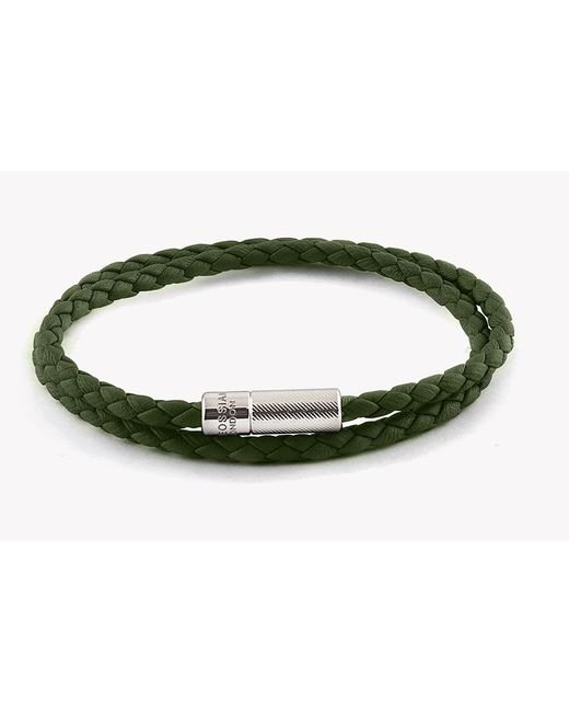 Tateossian - Green Double Wrap Pop Rigato Leather Bracelet With Silver Clasp for Men - Lyst