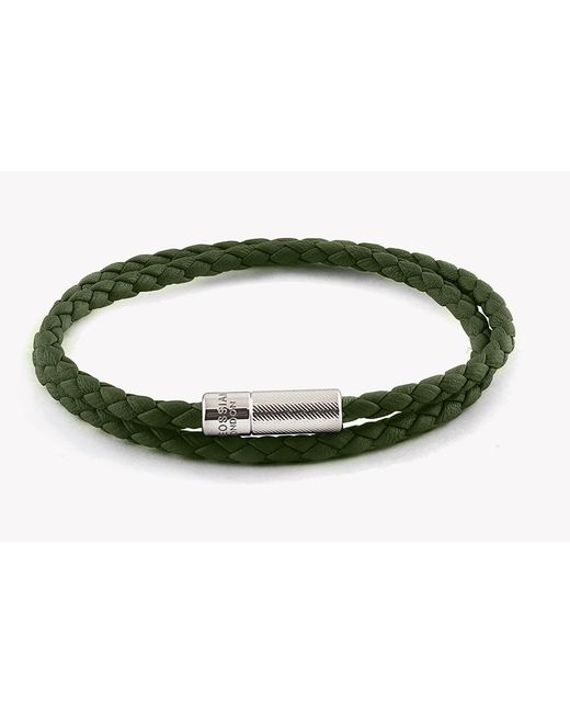 Tateossian | Green Double Wrap Pop Rigato Leather Bracelet With Silver Clasp | Lyst