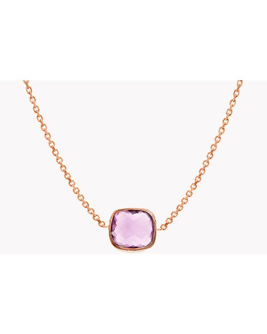 Tateossian - Multicolor 14k Rose Gold Belgravia Single Stone Necklace With Amethyst - Lyst