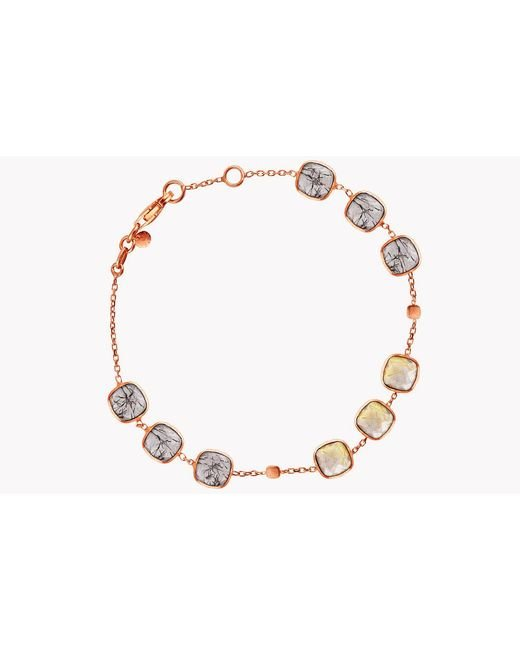 Tateossian - Metallic 14k Rose Gold Belgravia Bracelet With Gold And Black Rutilated Quartz for Men - Lyst