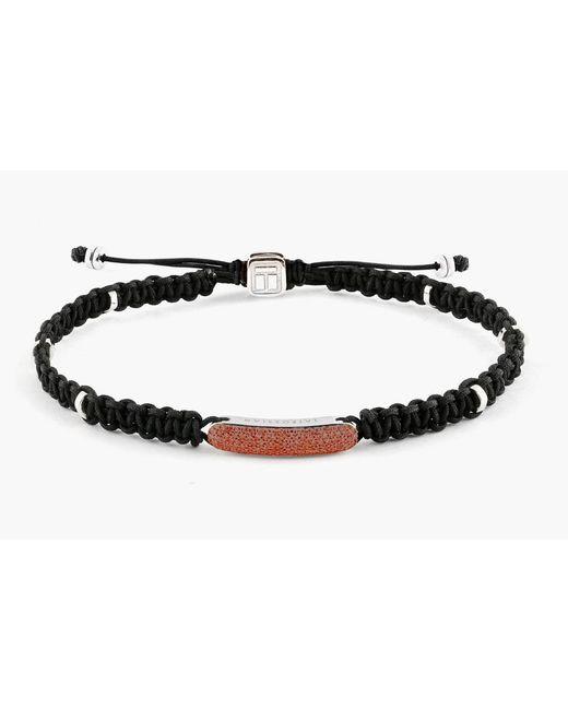Tateossian | Black Macrame Diamond Baton Silver Bracelet for Men | Lyst
