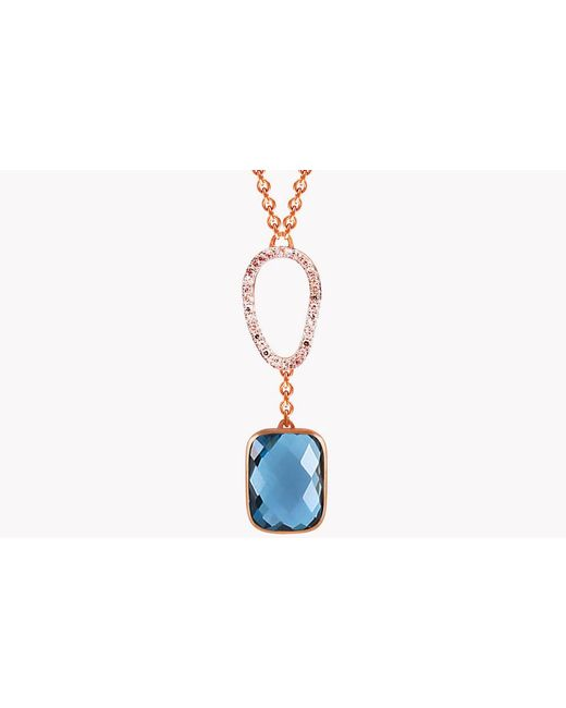 Tateossian - 14k Rose Gold Chelsea Necklace With London Blue Topaz & White Diamond for Men - Lyst