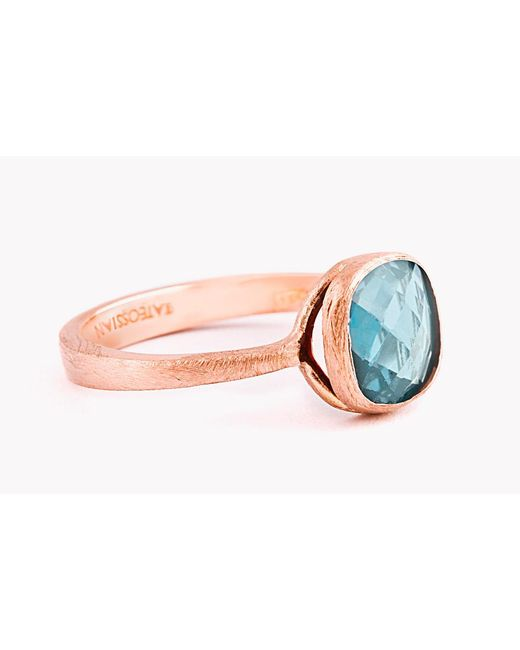 Tateossian - Pink 14k Rose Gold Belgravia Single Stone Ring With London Blue Topaz for Men - Lyst