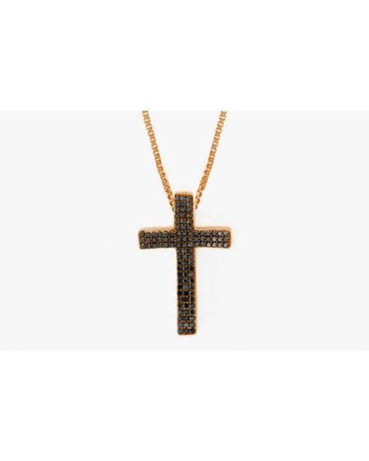 Tateossian | Precious Cross Micro Pavé Necklace In 18k Rose Gold With 105 0.35ct Black Diamonds for Men | Lyst