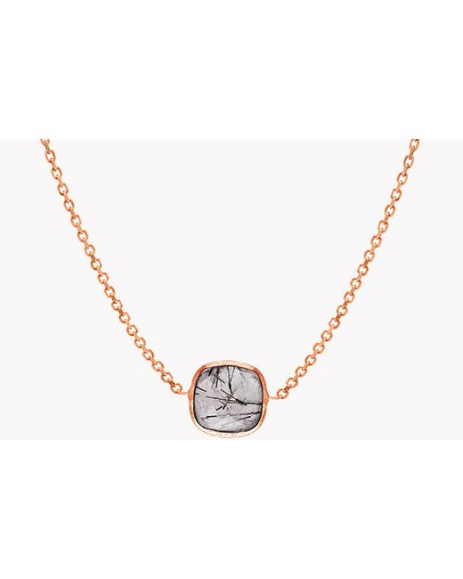 Tateossian - Metallic 14k Rose Gold Single Stone Belgravia Necklace With Black Rutilated Quartz for Men - Lyst