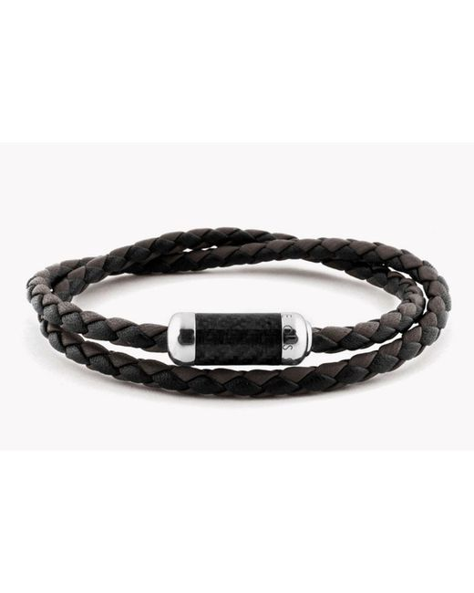 Tateossian - Montecarlo Bracelet In Black Leather With Silver And Enamel Clasp - Lyst