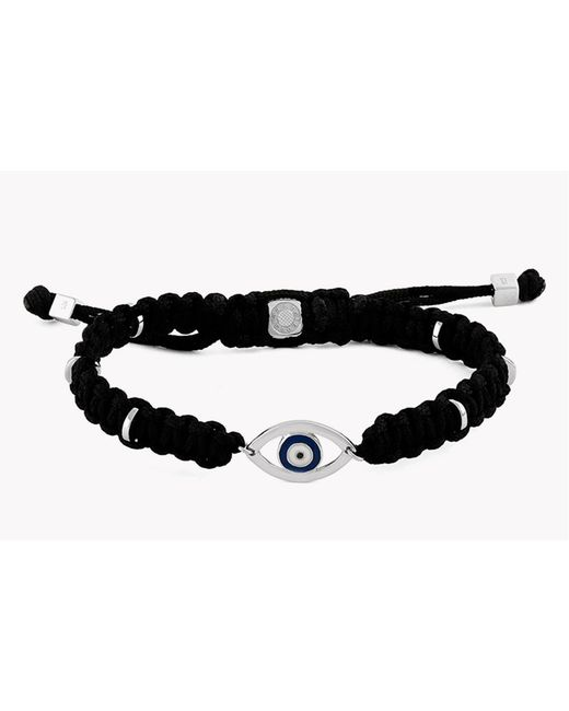Tateossian - Black Macramé Evil Eye Silver Bracelet for Men - Lyst