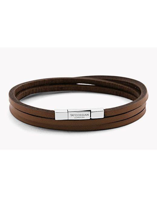 Tateossian | Brown Triple Wrap Fettuccine Bracelet for Men | Lyst
