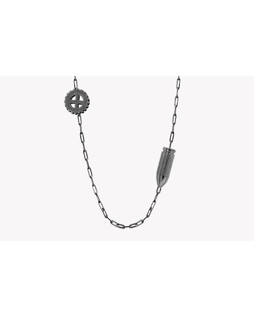 Tateossian - Metallic Double Gears Silver Necklace - Lyst