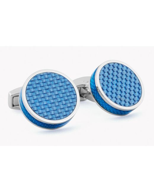 Tateossian - Blue Tablet Cufflinks With Carbon Fibre for Men - Lyst