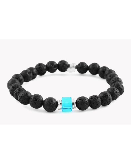 Tateossian - Black Matte Bead Bracelet In Blue & Lava for Men - Lyst