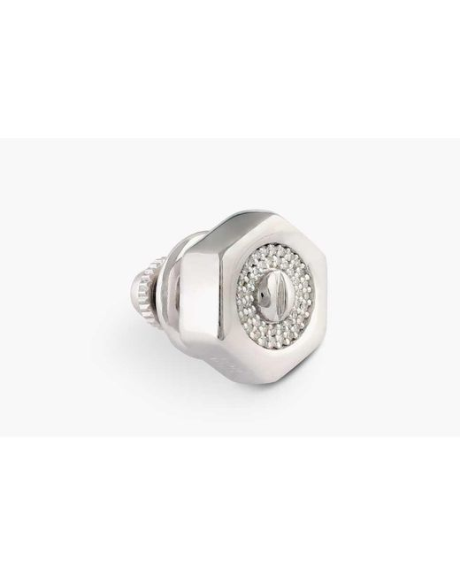 Tateossian - Metallic Bolt Pavé Silver Pin With White Diamonds (0.107cts) for Men - Lyst