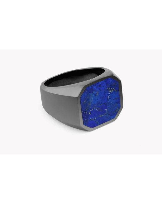 Tateossian - Blue Signet Silver Ring for Men - Lyst