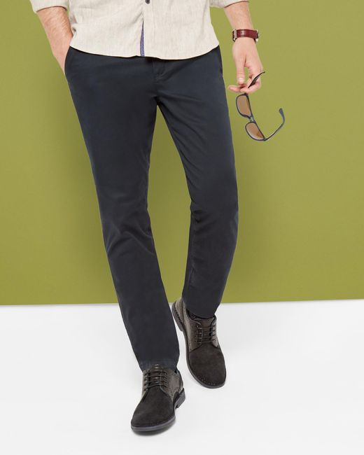 Ted Baker   Blue Tailored Fit Cotton Chinos for Men   Lyst
