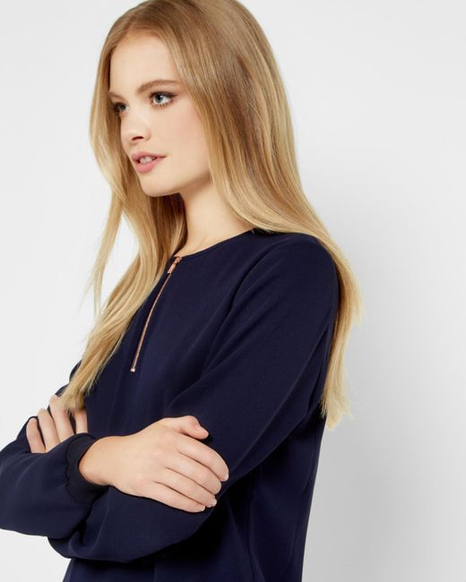 Ted Baker | Blue Zip Front Top | Lyst