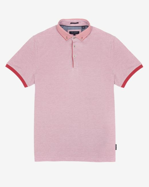 Ted Baker | Pink Woven Collar Polo Shirt for Men | Lyst