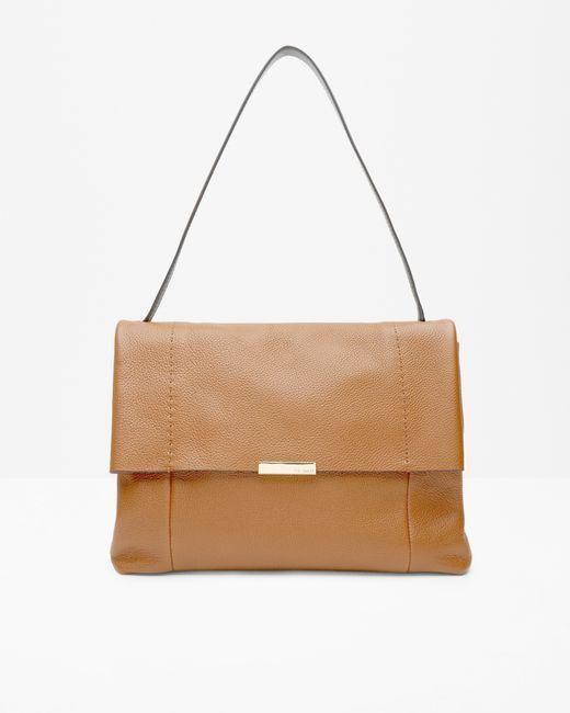 Ted Baker | Brown Textured Leather Shoulder Bag | Lyst