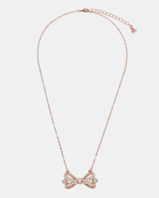 Ted Baker | Multicolor Crystal Bow Necklace | Lyst