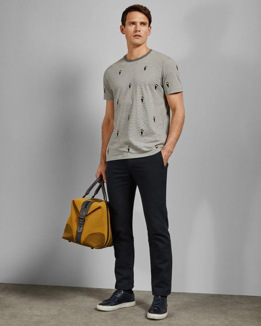 a8d698f5 Ted Baker Embroidered Cotton T-shirt in Gray for Men - Save 56% - Lyst